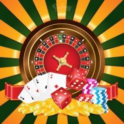 Roulettehjul, tärningar spelmarker och kortlek
