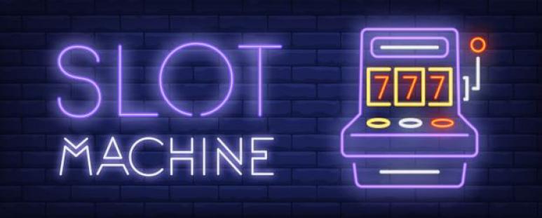 texten slot machine + slot i lila neonljus